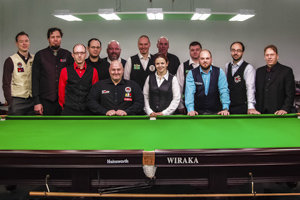 Foto: Teilnehmer des English-Billiards Turnier in Wien